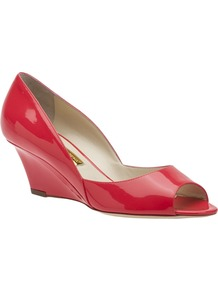 Peep Toe Wedge - predominant colour: true red; occasions: casual, evening, work; material: leather; heel height: mid; heel: wedge; toe: open toe/peeptoe; style: courts; finish: patent; pattern: plain