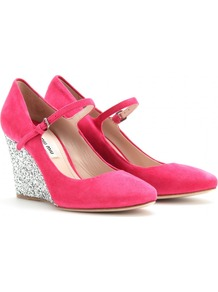 Suede Mary Jane Wedges - predominant colour: hot pink; occasions: evening, work; material: suede; heel height: high; embellishment: buckles, glitter; ankle detail: ankle strap; heel: wedge; toe: round toe; style: mary janes; finish: plain; pattern: plain