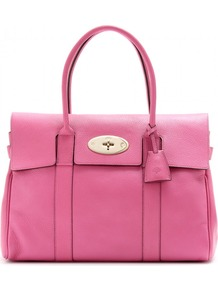 Bayswater Glossy Leather Tote - predominant colour: hot pink; occasions: work; style: tote; length: handle; size: standard; material: leather; pattern: plain; finish: plain