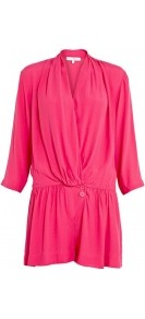 Beka Silk Crepe Playsuit - neckline: low v-neck; fit: loose; pattern: plain; waist detail: elasticated waist, fitted waist; bust detail: ruching/gathering/draping/layers/pintuck pleats at bust; length: short shorts; predominant colour: hot pink; occasions: casual, evening; fibres: polyester/polyamide - 100%; sleeve length: 3/4 length; sleeve style: standard; texture group: crepes; style: playsuit; pattern type: fabric