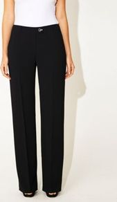 Black Tailored Roma Trousers - length: standard; pattern: plain; waist: mid/regular rise; predominant colour: black; occasions: evening, work; fibres: polyester/polyamide - 100%; texture group: crepes; fit: straight leg; pattern type: fabric; style: standard