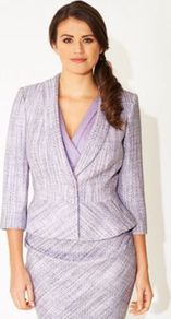 Lilac Chiffon & Tweed Mix Talia Jacket - style: single breasted blazer; collar: shawl/waterfall; pattern: herringbone/tweed; secondary colour: ivory; predominant colour: lilac; occasions: casual, occasion; length: standard; fit: tailored/fitted; fibres: cotton - mix; sleeve length: 3/4 length; sleeve style: standard; collar break: medium; pattern type: fabric; pattern size: standard; texture group: tweed - bulky/heavy