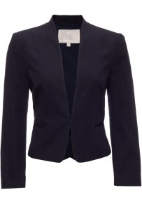 Camellia Jacket - pattern: plain; style: single breasted blazer; collar: standard lapel/rever collar; predominant colour: navy; occasions: casual, evening, work, occasion; length: standard; fit: tailored/fitted; fibres: cotton - 100%; waist detail: fitted waist, peplum detail at waist; sleeve length: long sleeve; sleeve style: standard; texture group: cotton feel fabrics; collar break: low/open; pattern type: fabric; pattern size: standard