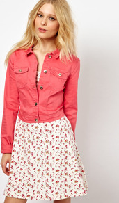 Coloured Denim Jacket - pattern: plain; length: cropped; style: denim; fit: slim fit; predominant colour: coral; occasions: casual; fibres: cotton - stretch; collar: shirt collar/peter pan/zip with opening; sleeve length: long sleeve; sleeve style: standard; texture group: denim; collar break: high/illusion of break when open; pattern type: fabric