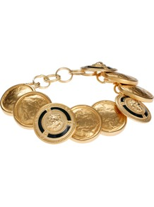 Vintage Gold Button Chunky Bracelet - predominant colour: gold; occasions: casual, evening, work, holiday; style: charm; size: standard; material: chain/metal; trends: metallics; finish: metallic; embellishment: chain/metal