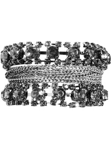 Cluster Bead Bracelet - predominant colour: charcoal; occasions: casual, evening, occasion; style: cuff; size: large/oversized; material: chain/metal; finish: metallic; embellishment: chain/metal, crystals