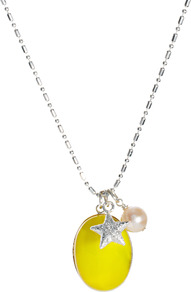 Neon Stone Necklace With Star Charm - predominant colour: yellow; secondary colour: yellow; occasions: casual, evening, holiday; style: pendant; length: mid; size: standard; material: chain/metal; finish: plain; embellishment: jewels