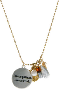 Love Is Patient Love Is Kind Pearl Charm Necklace - predominant colour: gold; occasions: casual, holiday; style: pendant; length: long; size: small/fine; material: chain/metal; finish: metallic; embellishment: chain/metal