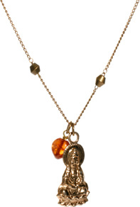 Buddha Necklace With Carnelian Charm - predominant colour: gold; occasions: casual, holiday; style: pendant; length: mid; size: small; material: chain/metal; finish: plain; embellishment: beading