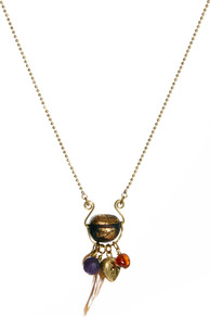 Vintage Buddha Bead Necklace With Semi Precious Stone Charm - predominant colour: bronze; occasions: casual, holiday; style: pendant; length: mid; size: small; material: chain/metal; finish: plain; embellishment: beading