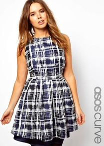 Curve Skater Dress In Sketchy Check - length: mid thigh; sleeve style: sleeveless; pattern: checked/gingham; waist detail: fitted waist; secondary colour: white; predominant colour: navy; occasions: evening, occasion; fit: fitted at waist & bust; style: fit & flare; fibres: polyester/polyamide - stretch; neckline: crew; hip detail: soft pleats at hip/draping at hip/flared at hip; sleeve length: sleeveless; pattern type: fabric; pattern size: standard; texture group: other - light to midweight