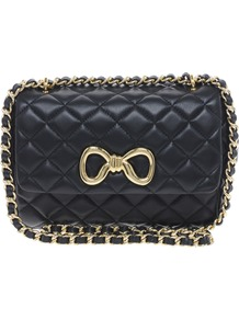 Cheap & Chic Leather Sweet Shoulder Bag - predominant colour: black; occasions: casual, evening, work, occasion; type of pattern: small; style: shoulder; length: shoulder (tucks under arm); size: small; material: leather; embellishment: quilted, bow, chain/metal; pattern: plain; finish: plain