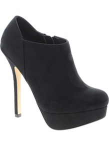 Tori Platform Shoe Boots - predominant colour: black; occasions: casual, evening, work, occasion; material: suede; heel height: high; heel: platform; toe: round toe; boot length: ankle boot; style: standard; finish: plain; pattern: plain