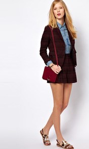 Nw3 Daphne Shorts - pattern: checked/gingham, patterned/print; style: shorts; waist: high rise; length: short shorts; predominant colour: burgundy; occasions: casual, evening, work; fibres: cotton - mix; hip detail: front pleats at hip level; waist detail: narrow waistband; fit: straight leg; pattern type: fabric; pattern size: small & light; texture group: brocade/jacquard