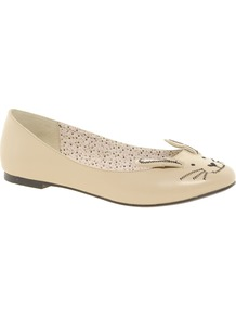 Little Miss Ballet Flats - predominant colour: nude; occasions: casual, evening, work, holiday; material: faux leather; heel height: flat; toe: round toe; style: ballerinas / pumps; finish: plain; pattern: plain