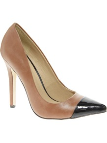 Proxy Pointed High Heels With Toe Cap - predominant colour: tan; occasions: evening, work, occasion; material: leather; heel height: high; heel: stiletto; toe: pointed toe; style: courts; finish: plain; pattern: colourblock; embellishment: toe cap