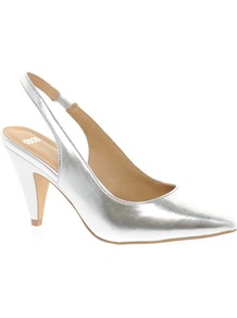 Santa Monica Heels - predominant colour: silver; occasions: evening, work, occasion; material: leather; heel height: mid; ankle detail: ankle strap; heel: cone; toe: pointed toe; style: slingbacks; trends: metallics; finish: metallic; pattern: plain