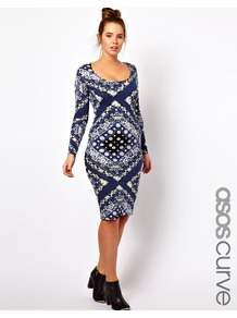 Curve Bodycon Dress In Scarf Print - length: below the knee; fit: tight; style: bodycon; occasions: casual, evening, holiday; neckline: scoop; fibres: viscose/rayon - stretch; predominant colour: multicoloured; sleeve length: long sleeve; sleeve style: standard; texture group: jersey - clingy; trends: modern geometrics; pattern type: fabric; pattern size: big &amp; busy; pattern: patterned/print