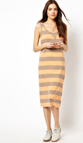 Toledo Stripe Tank Dress - length: below the knee; pattern: horizontal stripes; sleeve style: sleeveless; style: vest; predominant colour: coral; secondary colour: light grey; occasions: casual; fit: body skimming; neckline: scoop; fibres: cotton - 100%; sleeve length: sleeveless; pattern type: fabric; pattern size: standard; texture group: jersey - stretchy/drapey