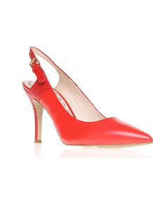 Foe - predominant colour: bright orange; occasions: evening, work, occasion; material: leather; heel height: high; embellishment: buckles; ankle detail: ankle strap; heel: stiletto; toe: pointed toe; style: slingbacks; finish: plain; pattern: plain