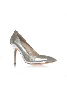 Harty2 - predominant colour: silver; occasions: evening, occasion; material: faux leather; heel height: high; heel: stiletto; toe: pointed toe; style: courts; trends: metallics; finish: metallic; pattern: patterned/print; embellishment: toe cap