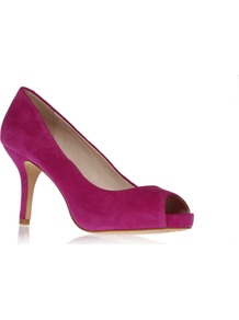 Kira - predominant colour: hot pink; occasions: evening, work, occasion; material: suede; heel height: high; heel: platform; toe: open toe/peeptoe; style: courts; finish: plain; pattern: plain