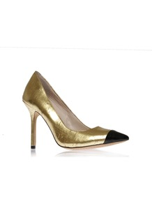 Harty2 - predominant colour: gold; occasions: evening, occasion; material: faux leather; heel height: high; heel: stiletto; toe: pointed toe; style: courts; trends: metallics; finish: metallic; pattern: colourblock; embellishment: toe cap