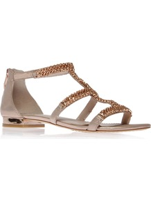 Hadie - predominant colour: stone; occasions: casual, evening, holiday; material: suede; heel height: flat; ankle detail: ankle strap; heel: standard; toe: open toe/peeptoe; style: strappy; trends: metallics; finish: metallic; pattern: plain; embellishment: chain/metal
