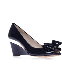 Varro - predominant colour: navy; occasions: evening, work, occasion; material: leather; heel height: high; heel: wedge; toe: open toe/peeptoe; style: courts; finish: patent; pattern: plain; embellishment: bow