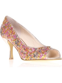 Quinty9 - occasions: evening, occasion, holiday; predominant colour: multicoloured; material: fabric; heel height: high; embellishment: sequins; heel: stiletto; toe: open toe/peeptoe; style: courts; trends: metallics; finish: metallic; pattern: patterned/print