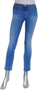 Paris Crop In Sugar Blue - style: skinny leg; pattern: plain; pocket detail: traditional 5 pocket; waist: mid/regular rise; predominant colour: denim; occasions: casual; length: ankle length; fibres: cotton - stretch; jeans detail: washed/faded; texture group: denim; pattern type: fabric