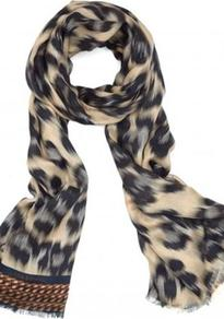 Leopard Scarf In Cream - secondary colour: ivory; predominant colour: black; occasions: casual, evening, work; type of pattern: large; style: regular; size: standard; material: fabric; pattern: animal print; trends: statement prints
