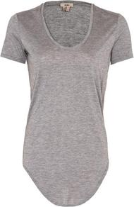 Scoop Neck Tee In Grey - neckline: round neck; pattern: plain; style: t-shirt; predominant colour: mid grey; occasions: casual, evening, work; length: standard; fibres: cotton - mix; fit: body skimming; sleeve length: short sleeve; sleeve style: standard; pattern type: fabric; pattern size: standard; texture group: jersey - stretchy/drapey