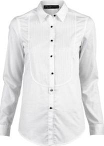 Carter Tux Shirt - neckline: shirt collar/peter pan/zip with opening; pattern: plain; style: shirt; predominant colour: white; occasions: casual, work; length: standard; fibres: cotton - 100%; fit: tailored/fitted; sleeve length: long sleeve; sleeve style: standard; texture group: cotton feel fabrics; trends: tuxedo; pattern type: fabric