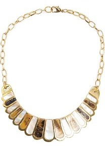 Mother Of Pearl Necklace - predominant colour: gold; secondary colour: gold; occasions: casual, evening, occasion; style: standard; length: short; size: large/oversized; material: chain/metal; trends: metallics; finish: metallic; embellishment: pearls
