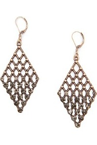 Touch Diamond Earrings With Crystals - predominant colour: gold; occasions: evening, work, occasion, holiday; style: drop; length: long; size: large/oversized; material: chain/metal; fastening: pierced; finish: metallic; embellishment: chain/metal, crystals