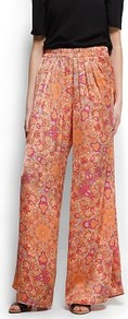 Paisley Print Wide Trousers - length: standard; style: palazzo; waist detail: elasticated waist, narrow waistband; pattern: paisley, patterned/print; pocket detail: pockets at the sides; waist: mid/regular rise; predominant colour: coral; occasions: casual, evening, work, holiday; fibres: polyester/polyamide - 100%; hip detail: draped at hip/ruched, front pleats at hip level; texture group: sheer fabrics/chiffon/organza etc.; trends: high impact florals, statement prints; fit: wide leg; pattern type: fabric; pattern size: small & busy