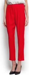Tapered Pleated Trousers - pattern: plain; style: peg leg; waist: high rise; predominant colour: true red; occasions: casual, evening, work; length: ankle length; fibres: polyester/polyamide - 100%; hip detail: front pleats at hip level; texture group: crepes; fit: tapered; pattern type: fabric; pattern size: standard