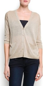 Metallic Knit Cardigan - neckline: low v-neck; pattern: plain; hip detail: front pockets at hip, fitted at hip; bust detail: buttons at bust (in middle at breastbone)/zip detail at bust; predominant colour: gold; occasions: casual, evening, work; length: standard; style: standard; fibres: polyester/polyamide - stretch; fit: slim fit; waist detail: front pockets at waist level; sleeve length: 3/4 length; sleeve style: standard; texture group: knits/crochet; trends: metallics; pattern type: knitted - fine stitch