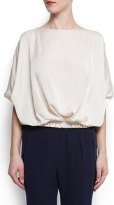 Satin Blouse - neckline: slash/boat neckline; sleeve style: dolman/batwing; pattern: plain; waist detail: elasticated waist, fitted waist, narrow waistband; style: blouse; predominant colour: ivory; occasions: casual, evening, work; length: standard; fibres: polyester/polyamide - 100%; fit: loose; sleeve length: short sleeve; texture group: crepes; trends: volume; pattern type: fabric; pattern size: standard