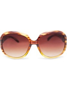 Metallic Detail Sunglasses - predominant colour: chocolate brown; occasions: casual, holiday; style: square; size: large; material: plastic/rubber; pattern: tortoiseshell; finish: plain