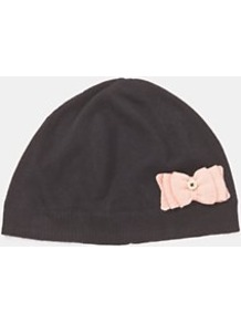 Grosgrain Bow Hat, Pink - predominant colour: black; occasions: casual; type of pattern: standard; style: beanie; size: standard; material: knits; embellishment: bow, button; pattern: plain, two-tone