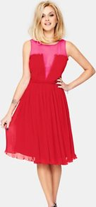 Pleated Occasion Dress, Red - neckline: round neck; fit: fitted at waist; pattern: plain, colourblock; sleeve style: sleeveless; bust detail: sheer at bust, contrast pattern/fabric/detail at bust; waist detail: fitted waist; shoulder detail: contrast pattern/fabric at shoulder; back detail: contrast pattern/fabric at back, embellishment at back, sheer fabric at back; predominant colour: true red; occasions: evening, occasion; length: on the knee; style: fit &amp; flare; fibres: polyester/polyamide - 100%; hip detail: structured pleats at hip, soft pleats at hip/draping at hip/flared at hip; sleeve length: sleeveless; texture group: sheer fabrics/chiffon/organza etc.; trends: volume; pattern type: fabric; pattern size: small &amp; light