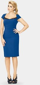 Lace Insert Pencil Dress, Blue - style: shift; neckline: low v-neck; sleeve style: capped; fit: tailored/fitted; pattern: plain; waist detail: fitted waist; hip detail: fitted at hip; predominant colour: royal blue; occasions: casual, evening, work, occasion; length: on the knee; fibres: polyester/polyamide - stretch; sleeve length: short sleeve; texture group: jersey - clingy; pattern type: fabric