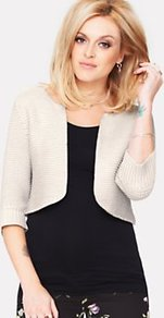 Knitted Shrug - pattern: plain; style: bolero/shrug; length: cropped; neckline: collarless open; predominant colour: ivory; occasions: casual, evening, work, holiday; fibres: cotton - mix; fit: slim fit; sleeve length: 3/4 length; sleeve style: standard; texture group: knits/crochet; pattern type: knitted - fine stitch