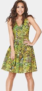 Floral Printed Day Dress, Green - neckline: low v-neck; sleeve style: sleeveless; waist detail: fitted waist; back detail: low cut/open back; secondary colour: white; occasions: casual, work, occasion, holiday; length: just above the knee; fit: fitted at waist & bust; style: fit & flare; fibres: polyester/polyamide - stretch; hip detail: soft pleats at hip/draping at hip/flared at hip; predominant colour: multicoloured; sleeve length: sleeveless; texture group: cotton feel fabrics; trends: statement prints; pattern type: fabric; pattern size: standard; pattern: patterned/print