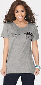 Eyelash Printed Tshirt - neckline: round neck; style: t-shirt; predominant colour: mid grey; occasions: casual; length: standard; fibres: polyester/polyamide - 100%; fit: loose; bust detail: contrast pattern/fabric/detail at bust; sleeve length: short sleeve; sleeve style: standard; pattern type: fabric; pattern size: small &amp; light; pattern: patterned/print; texture group: jersey - stretchy/drapey