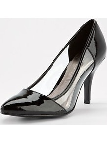 Fox Perspex Point Court Shoes Black, Black - predominant colour: black; occasions: evening, work, occasion; material: faux leather; heel height: high; heel: stiletto; toe: pointed toe; style: courts; finish: patent; pattern: plain, two-tone