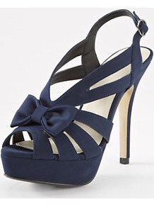 Fallon Platform Sandals Navy, Navy - predominant colour: navy; occasions: evening, occasion; material: satin; heel height: high; embellishment: buckles, bow; ankle detail: ankle strap; heel: platform; toe: open toe/peeptoe; style: strappy; finish: plain; pattern: plain