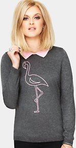 Flamingo Knitted Jumper, Pink - style: standard; predominant colour: charcoal; occasions: casual, work; length: standard; fibres: polyester/polyamide - mix; fit: standard fit; neckline: no opening/shirt collar/peter pan; bust detail: contrast pattern/fabric/detail at bust; sleeve length: long sleeve; sleeve style: standard; texture group: knits/crochet; pattern type: knitted - fine stitch; pattern size: standard; pattern: patterned/print